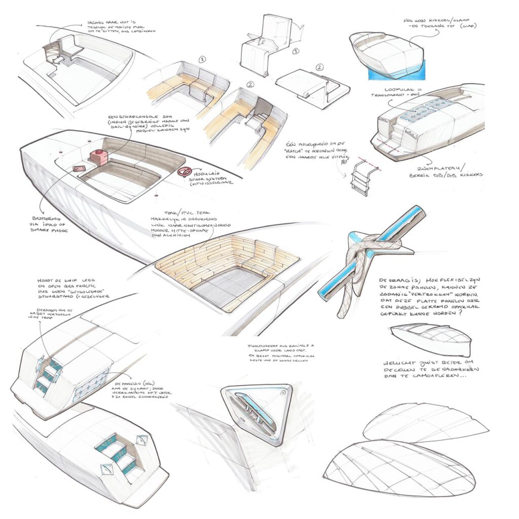 Concept stage sketches for sloop company